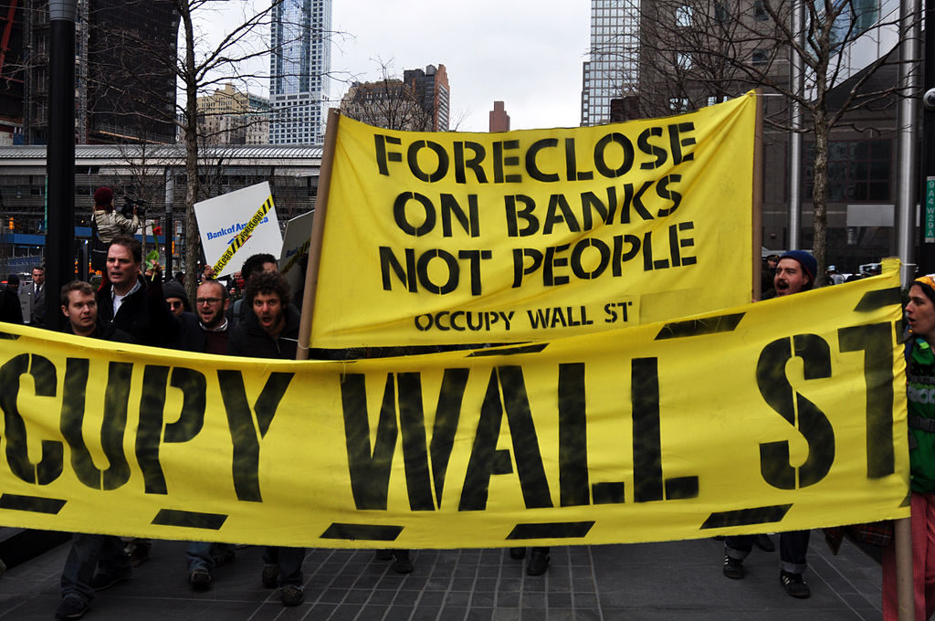movimento Occupy Wall Street, protesta presso Bank of America del marzo 2012